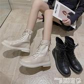 馬丁靴 網紅馬丁靴女ins潮酷英倫風短筒新款顯瘦厚底增高帥氣百搭短靴秋 交換禮物 曼慕