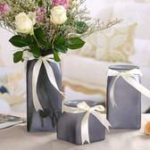 彩色磨砂玻璃花瓶絲帶歐式桌面插花瓶干花擺件【步行者戶外生活館】