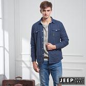 【JEEP】純棉百搭襯衫式外套 (深藍)