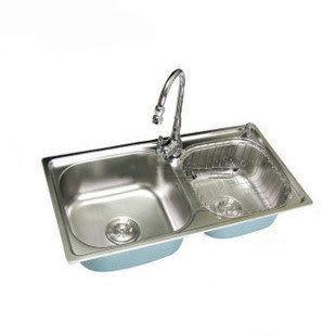 高檔不鏽鋼雙槽水槽/洗菜盆 9件套 3048
