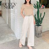 Queen Shop【04080131】休閒素色後鬆緊腰棉麻長褲附腰帶 兩色售*現+預*