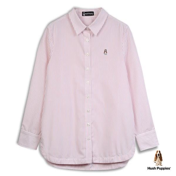 Hush Puppies 襯衫 女裝後綁帶直條紋長袖襯衫