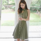 【$299 低價出清 不退不換】大韓訂製無袖洋裝韓版氣質復古襯衫連身裙性感A字裙
