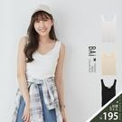 坑條小V圓領軟料背心上衣-BAi白媽媽【310381】