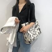 時尚包包女款簡約大容量帆布包單肩手提包【快速出貨】