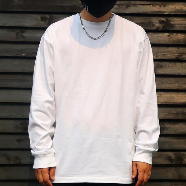 長袖上衣 250g重磅純棉t恤男長袖純色內搭體恤寬鬆上衣男士白 果果生活館