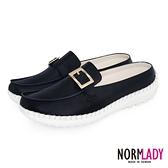 女鞋 穆勒鞋 氣墊鞋 拖鞋 氣質小方釦真皮磁石內增高球囊穆勒鞋-MIT手工鞋(經典黑)Normlady諾蕾蒂