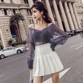 套裝女夏2018新款韓版氣質V領長袖條紋襯衫上衣 高腰百褶半身裙女