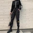 工裝褲 春秋黑色歐洲工裝褲女顯瘦高腰矮小個子寬鬆bf美式墜感直筒束腳褲