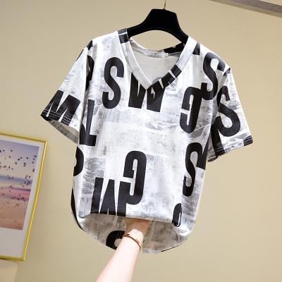V領打底衫上衣中大尺碼L-4XL夏新款胖mm顯瘦短袖T恤微胖妹妹v領遮肚穿搭打底衫4F081.韓依紡