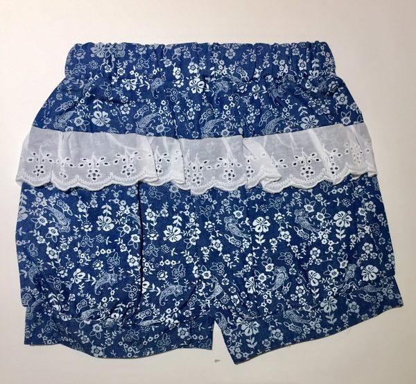 ★童裝大亨★【韓版專區】11509 蕾絲荷葉燈籠泡泡褲 顏色:藍