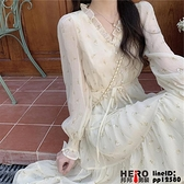洋裝早春女裝茶歇法式設計感小眾溫柔氣質碎花蕾絲連身裙長款品牌【邦邦男装】