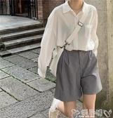 雙11短褲2020新款高腰顯瘦寬鬆五分褲休閒a字闊腿西裝短褲女夏季薄款潮ins