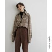 格子襯衫女新款韓版設計感小眾寬鬆襯衣復古長袖上衣 小天後
