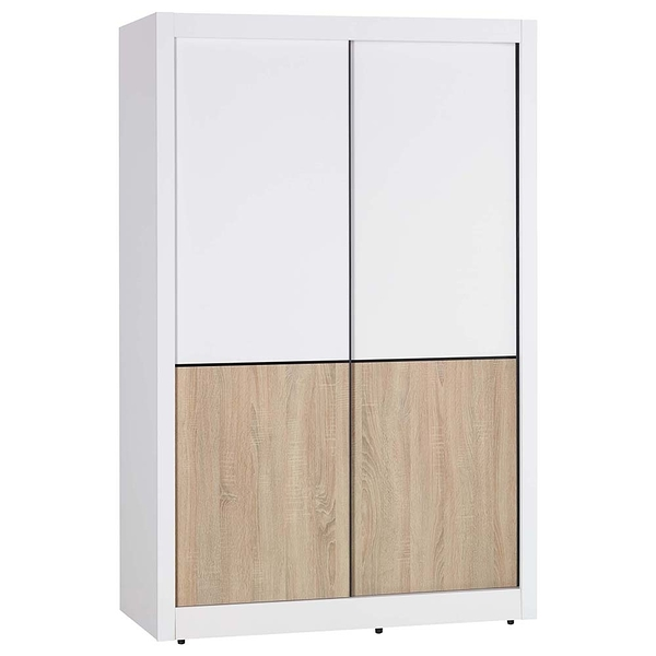 【森可家居】小北歐4尺推門衣櫥 8JX324-2 衣櫃 左右拉門 雙色 北歐鄉村風 MIT