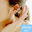 【DJJ2208】shiny藍格子-時尚閃亮蝴蝶鑲鑽耳夾