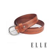 背包族 【ELLE HOMME】品牌休閒皮帶/商務皮帶(淺咖啡)-金屬馬蹄鐵