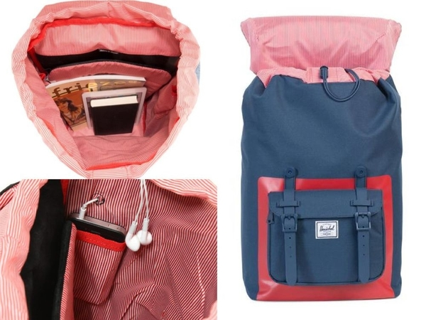Hsin_88折現貨 Herschel Little America 中型 深藍 紅色 橡膠 筆電 大容量 女生 後背包