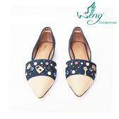 【WENG COLLECTION】Orbit Stone丹寧拼接尖頭平底鞋 深藍