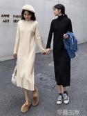 針織連身裙秋冬網紅女裝套頭韓版長款寬鬆百搭打底針織毛衣連身裙女 芊墨左岸