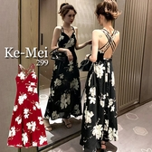 克妹Ke-Mei【AT68142】採購重推!渡假風交叉美背花朵雪紡長洋裝
