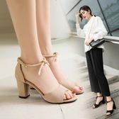 女涼鞋歐美粗跟高跟涼鞋絨面時尚成熟魚嘴氣質涼鞋女   可然精品鞋櫃