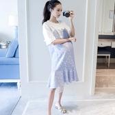 漂亮小媽咪 孕婦洋裝 【D2033】 假兩件 背心裙 條紋 短袖 洋裝 孕婦裝 魚尾裙 魚尾洋裝