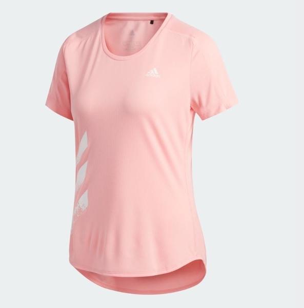 Adidas RUN IT 3-STRIPES女款粉色運動短袖上衣-NO.FR8383