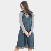 牛仔裙--波西米亞復古V領吊帶腰線口袋開衩毛邊流蘇牛仔連衣裙(藍M-2L)-Q100眼圈熊中大尺碼◎