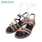 【Bo Derek 】花瓣滾邊鑽飾平底涼鞋-粉色