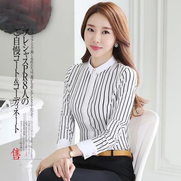 OL長袖襯衫女~*艾美天后*~韓版時尚辦公襯衫修身工作襯衫