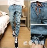 2020夏季新款大碼藍色男牛仔褲破洞時尚束腳哈倫褲小腳修身帥氣刷破長褲LXY7153【衣好月圓】