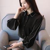 85折秋季雪紡襯衫女長袖 韓版 氣質  寬鬆 顯瘦 白襯衣開學季