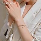 手鐲 ZENGLIU設計師雙層小蠻腰手鍊手環女輕奢小眾簡約手鐲閨蜜手飾品 晶彩