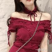 2020網紅復古典雅紅色一字肩性感露肩約會短裙掛頸法式洋裝洋裝 一米陽光