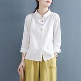 春季盤扣復古中國風翻領純色棉麻長袖襯衫女文藝襯衣打底內搭上衣 秋季新品