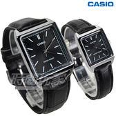 CASIO卡西歐 休閒風尚方型石英錶 真皮 情人對錶 防水 學生錶 黑 MTP-V007L-1E+LTP-V007L-1E