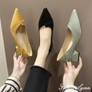 女鞋2020新款春季淺口尖頭女士中粗跟單鞋網紅兩穿黑色職業工作鞋 范思蓮恩