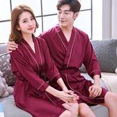 睡袍女性感春夏季絲綢情侶睡衣男士浴袍冰絲質兩件甜美家居服浴衣   mandyc衣間