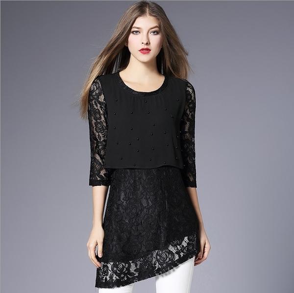 中大尺碼上衣 不規則蕾絲釘珠長版上衣 黑色 L-5XL #sv6995❤卡樂store❤