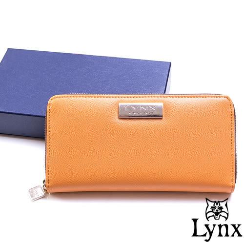 Lynx - LadyGirl 都會感真皮單拉鍊長夾 ─ 陽光橙