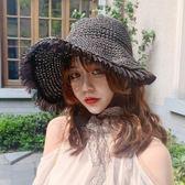 網紅草帽女夏蕾絲系帶沙灘帽海邊出游度假防曬遮陽帽子綁帶潮空頂