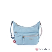 beside u BFYF 多口袋印花彎月側背包 – 藍色 原廠公司貨