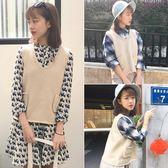 新款韓版學院風寬鬆V領背心馬甲毛衣秋裝短款套頭針織衫女潮   時尚潮流