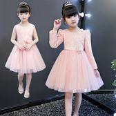 兒童禮服 兒童裝禮服女童公主裙夏季長袖寶寶蓬蓬紗裙中大童連衣裙