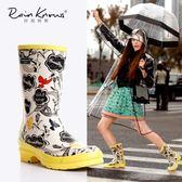 雨鞋   手繪春夏時尚中筒女式雨鞋 女士雨靴復古風雨鞋中筒雨靴