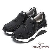 ★2018春夏新品★【CUMAR】樂活休閒-星型水鑽裝飾休閒厚底鞋(黑色)
