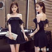 中大尺碼 2018夏季新款服裝系袋袖平肩抹胸裙性感夜店洋裝一字領 ZB253『時尚玩家』