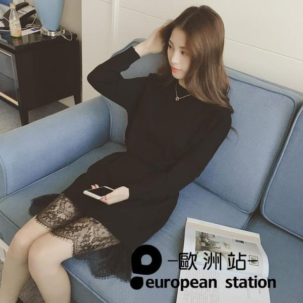 洋裝/圓領套頭蕾絲拼接假兩件中長連身裙「歐洲站」