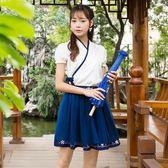 文藝范民族風改良漢服女繡花交領半臂短裙套裝 日常漢元素班服